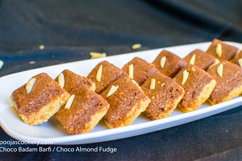 Choco Badam Barfi / Choco Almond Fudge