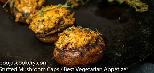 Stuffed Mushroom Caps / Best Vegetarian Appetizer