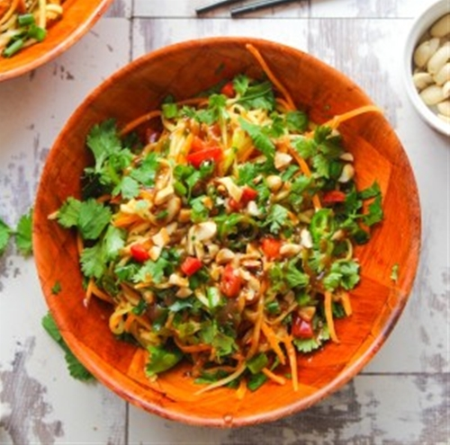 Veggie Pad Thai Zoodles with a Peanut Dressing