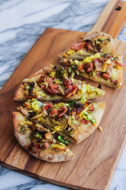 Bacon Brussels and Blue Cheese Flatbread
