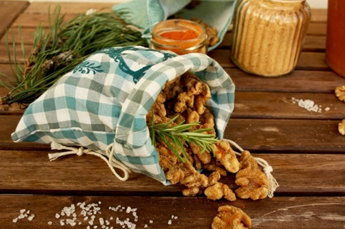Salted Caramel Walnuts with Rosemary