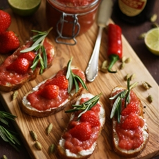 Goat Cheese Crostini with Rhubarb Chutney