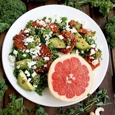 Kale Salad with Caramelized Grapefruit, Avocado, Feta & Pesto Dressing