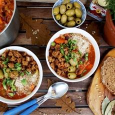 Vegan Grain Stew with Sweet Potatoes, Hazelnuts and Crispy Bread Crumb