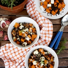 Sweet Potato Casserole with Beluga Lentils and Feta Cheese: Meatless M
