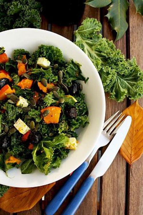 Kale Pumpkin Salad with Feta and Pesto Dressing