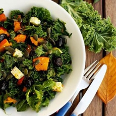 Kale Pumpkin Salad with Feta and Pesto Dressing