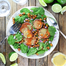 Sweet Potato and Chickpea Salad with Garlic Lime Maple Vinaigrette