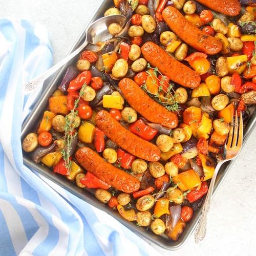 Andouille Chicken Sausage Veggie Kabobs (Deconstructed)