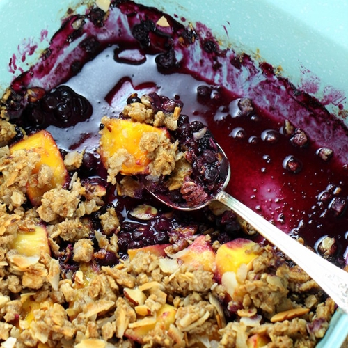 Tropical Blueberry Mango Coconut Crumble