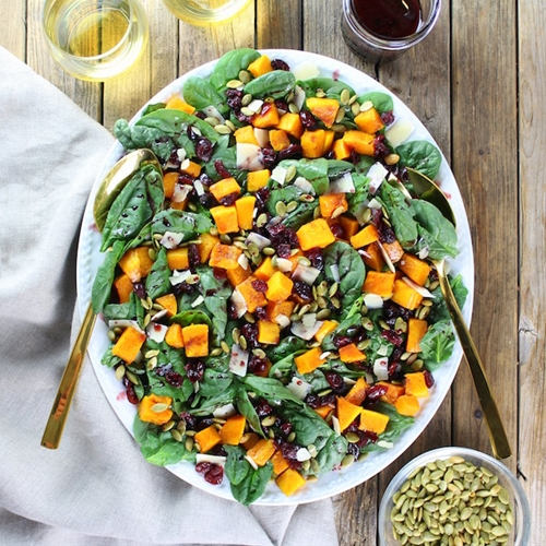 Roasted Butternut Squash, Cranberry and Spinach Salad with a Cran