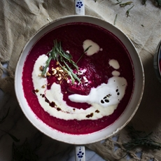 Ruby beet soup, goat cheese foam, toasted hazelnuts & wild arugula