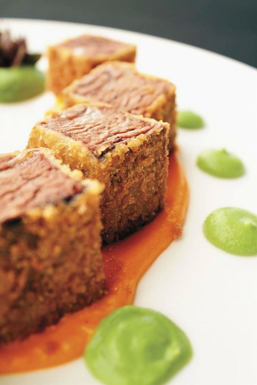 Japanese Braised Fried Short Ribs With Carrot Coulis Garden Vegetable