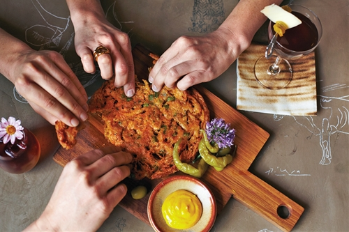 Crispy Grass Shrimpchickpea Flour Pancake With Saffron Aoli