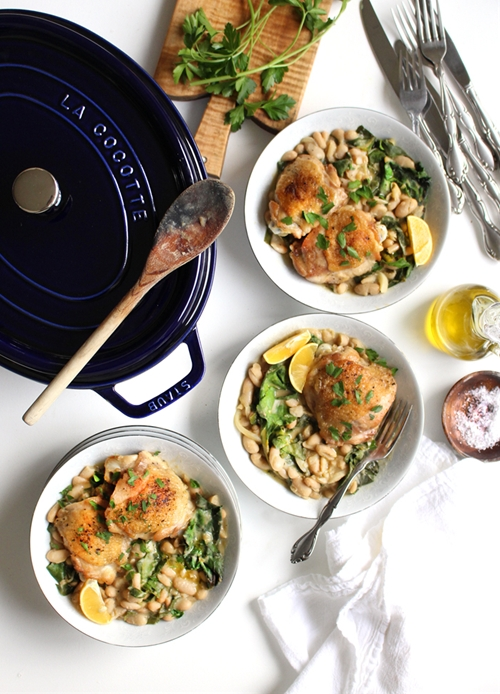 Crispy Braised Chicken Thighs with Cannellini Beans and Greens {