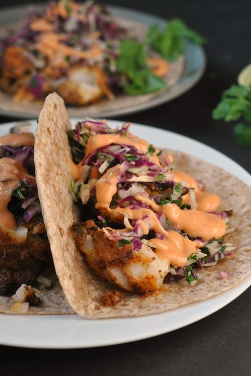 Blackened fish tacos with cilantro slaw and sriracha mayo for Blackened fish tacos
