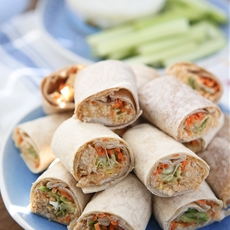 Buffalo Hummus Chicken Salad Roll Ups