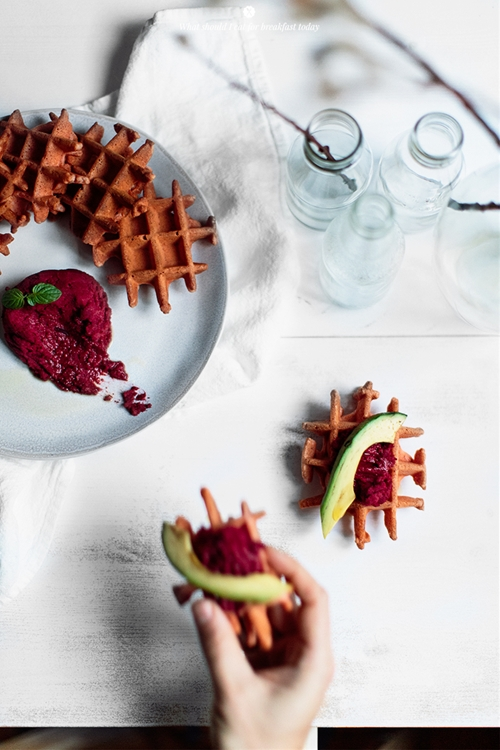 Beetroot waffles with beetroot hummus