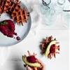Beetroot waffles with beetroot hummus
