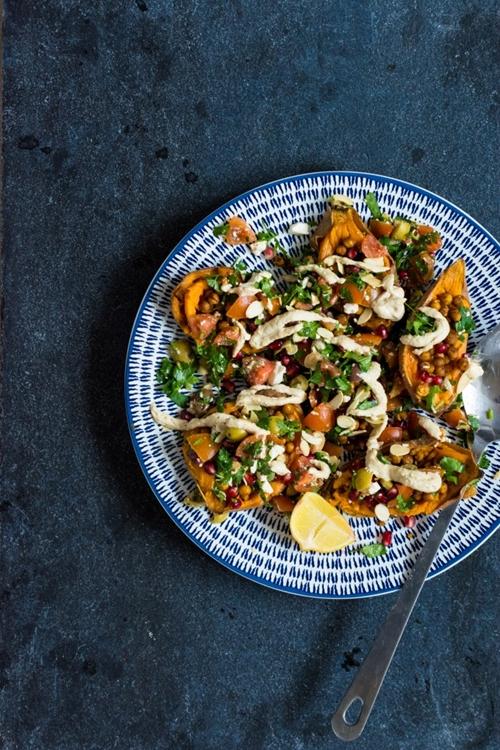 Moroccan Stuffed Sweet Potatoes with Tahini // Spoons of Ginger
