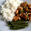 Chicken abodo with basmati rice and green beans
