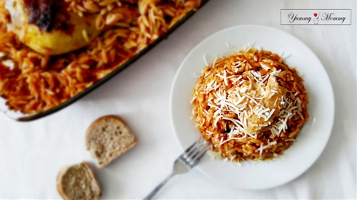 Giouvetsi aka chicken with pasta baked in the oven