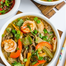 Asian Soba Noodle Soup With Shrimp & Vegetables