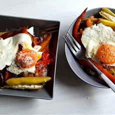 Polenta, vegetables and eggs
