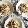 Pasta with cream, Oyster King mushrooms and tarragon sauce