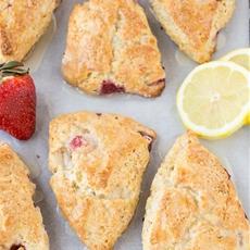 Lemon Cream Cheese Scones with Strawberries