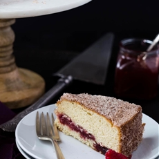 Raspberry Jelly Donut Coffee Cake