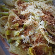 Artichoke Leaf Pasta with Leek 'Carbonara'