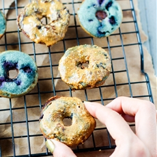 Healthy Peanut Butter Glazed Blueberry Mini Donuts (Dairy Free, Gluten