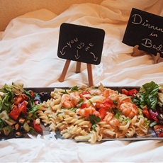 Dinner in bed for two recipe with alfredo pasta with shrimp & salad