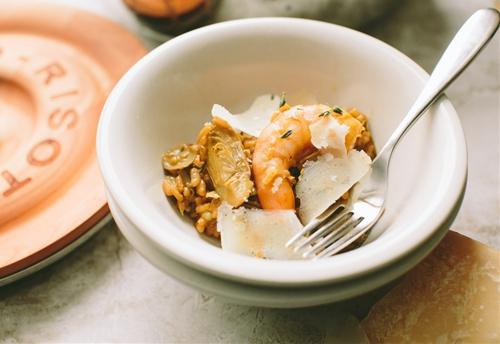 Baby Artichoke and Shrimp Risotto
