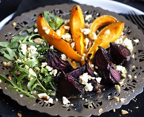 Butternut, Beetroot and Feta Salad with Nuts