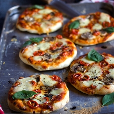 Mushroom and Tomato Mini Pizzas