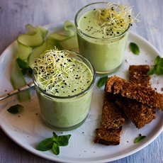 Chilled Cucumber, Pea and Yogurt Soup