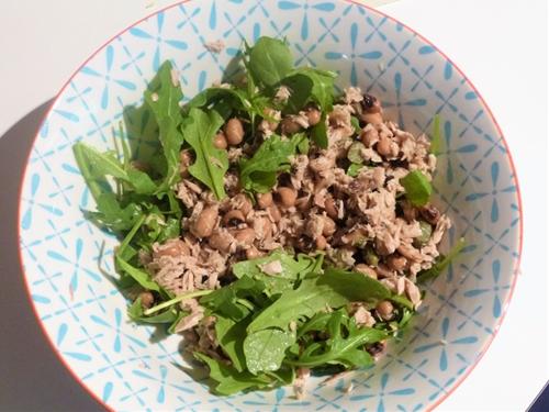 Healthy Tuna, Black Eye Bean, Rocket and Caper Salad dressed with Lemo