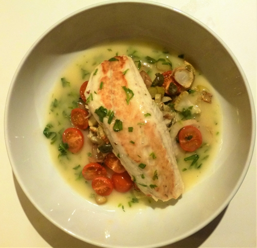 Saturday night Seabass with Tarragon Sauce and Roasted Fennel, Capers