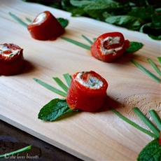 Roasted Bell Pepper Goat Cheese Bites #SundaySupper