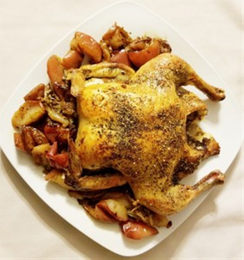 Herb Roasted Chicken with Apples and Onion