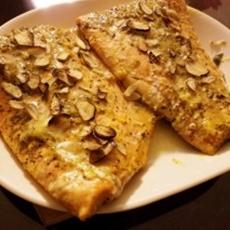 Mango Horseradish Sauced Salmon with Slivered Garlic