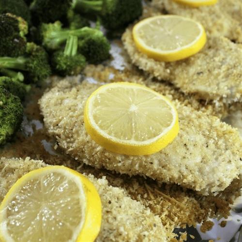 Crunchy Lemon Parmesan Chicken with Broccoli