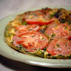 Spanish Flat Sweet Potato Omelet, Topped With Tomato