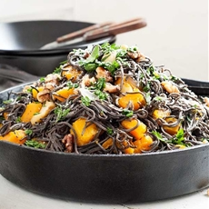 Roast Pumpkin, Avocado Feta Black Bean Spaghetti