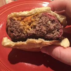 Cheesy Sausage Beer Can Burgers