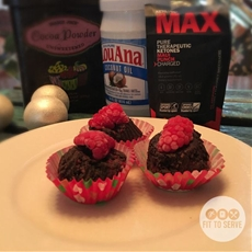 Super charged chocolate raspberry fat bombs