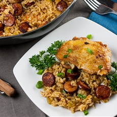 One Pan Chicken and Dirty Rice