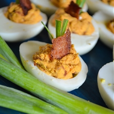 Smoky Bacon Deviled Eggs; The Radiant Chef